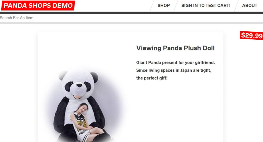 Shop item giant panda